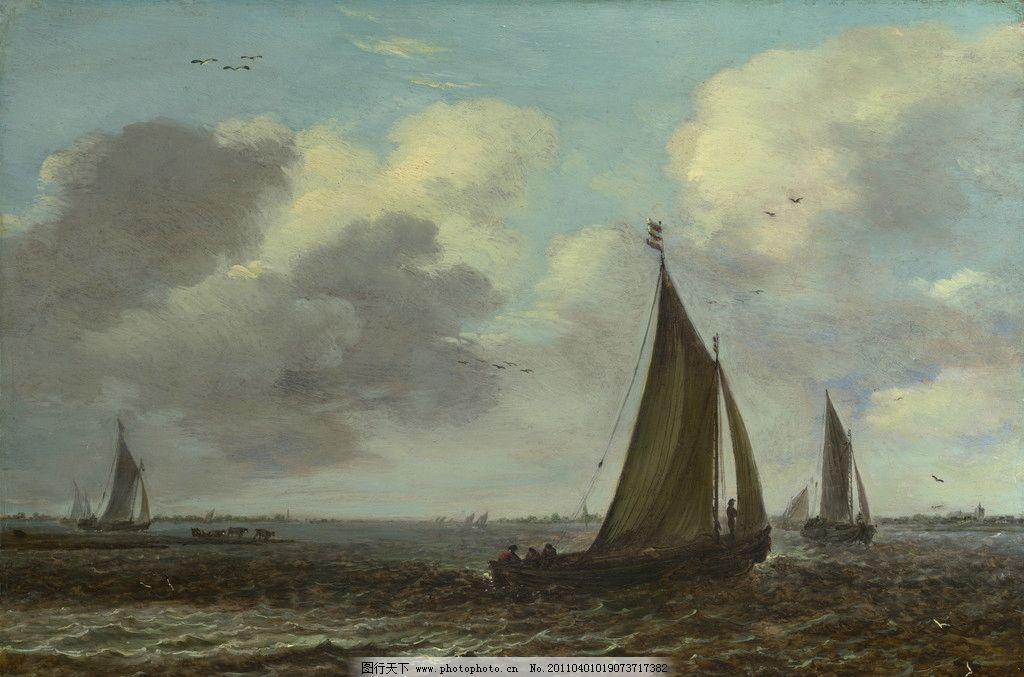 海面上停泊的大帆船