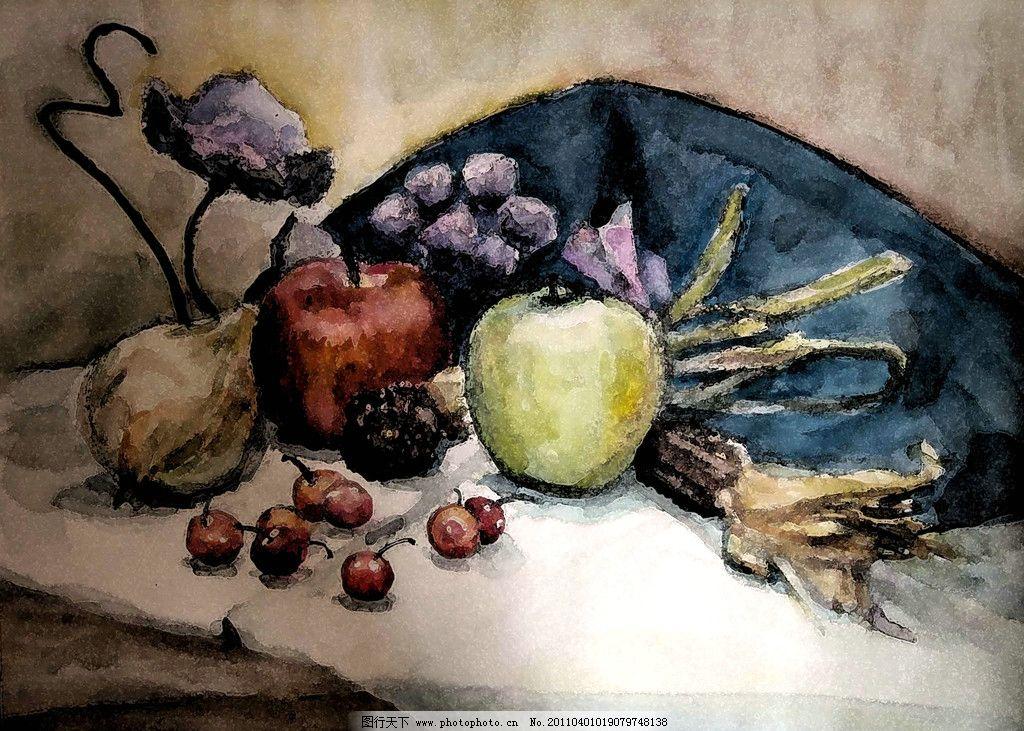 文化艺术 绘画书法  水彩静物 美术 绘画 水彩画 静物画 水果 苹果