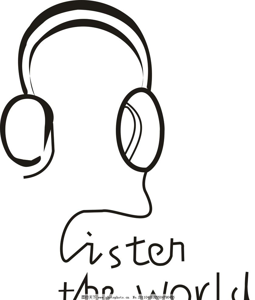 线条人物 线条 耳机 耳麦 生活用品 生活百科 设计 300dpi jpg