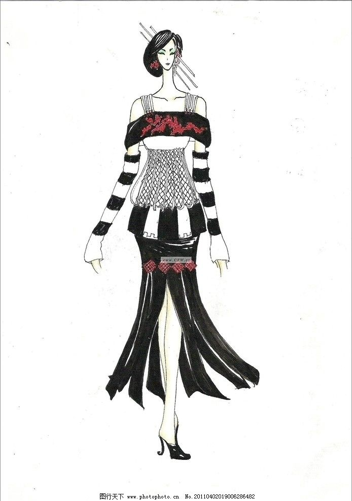 服装款式图 创意服装 时装秀 服装秀 手绘时装效果图 手绘人物 女人