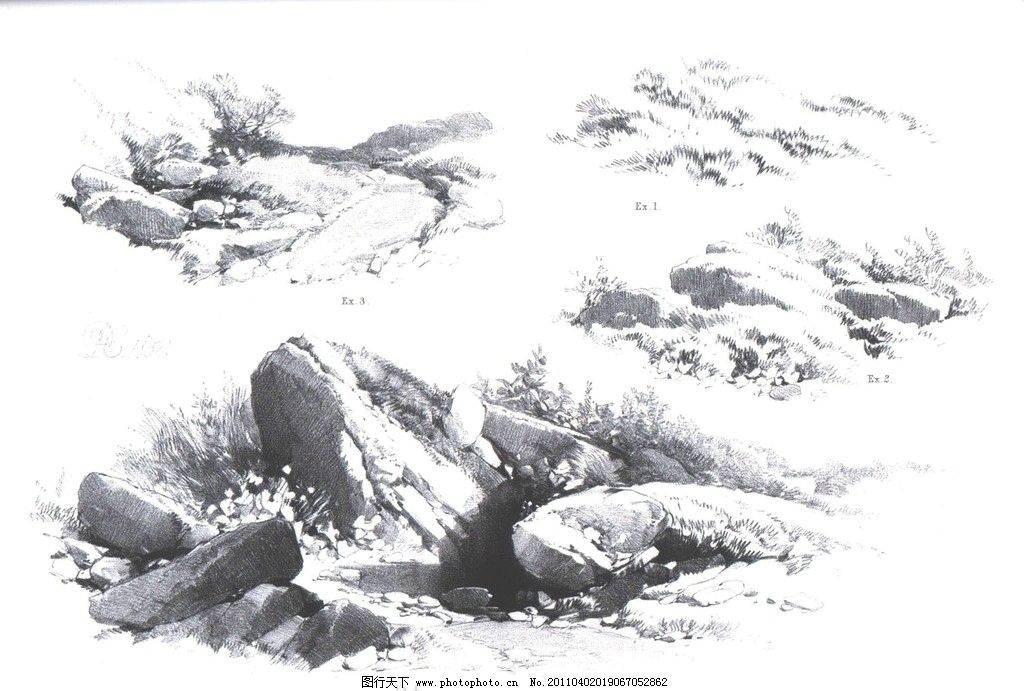 风景园林手绘石头线稿
