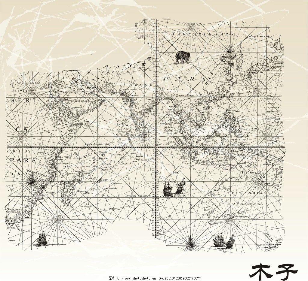 航海图线稿图片