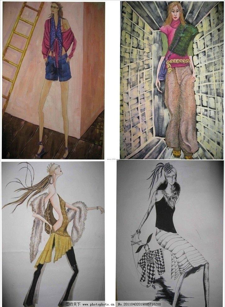 服装 时装 服装款式图 手绘时装效果图 手绘人物 女人 美女 绘画书法