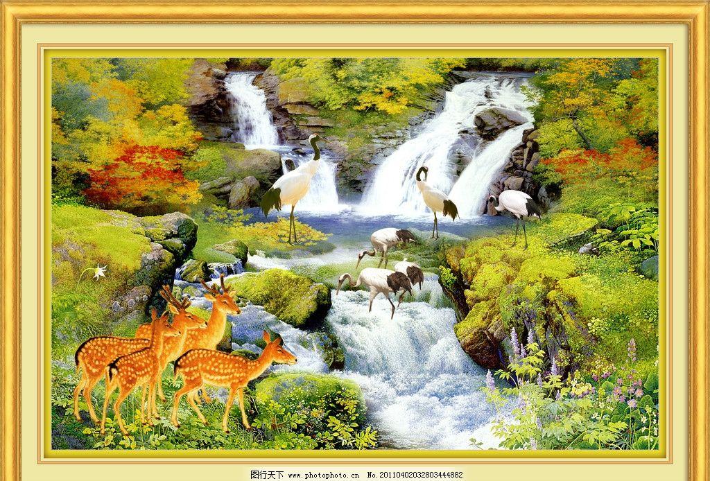 油画 油画山水 风景画 风景油画 瀑布 大瀑布 流水 河流 碧水 树 红叶