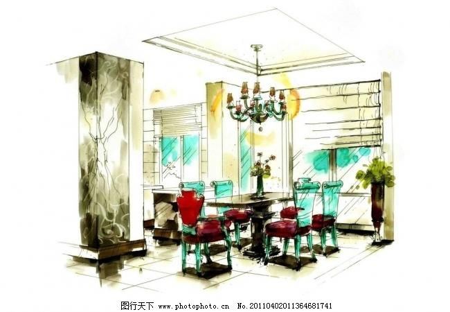 花瓶 绘画书法 室内设计 手绘室内设计 手绘室内 麦克笔效果图 马克笔