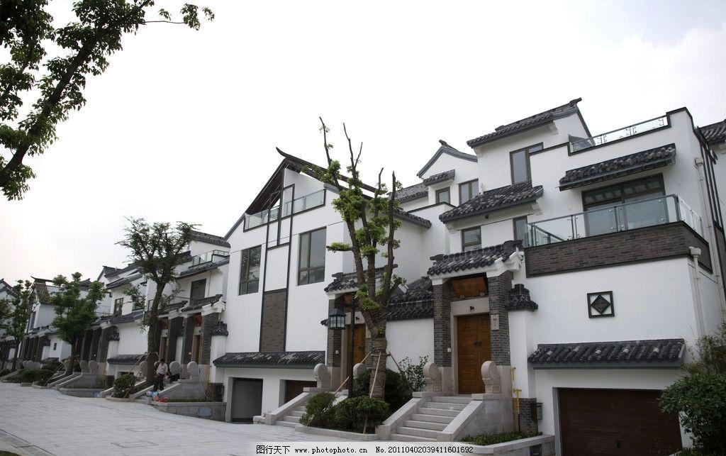 中式别墅 中式建筑 中式 建筑 房子 街院 坡屋顶 房产建筑摄影 建筑图片