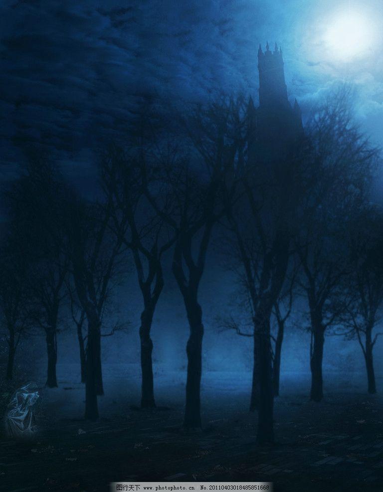 设计图库 动漫卡通 风景漫画  童话背景 梦幻浪漫风景 月光 城堡 古堡