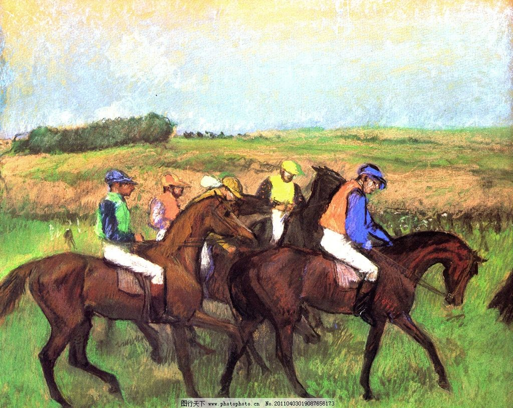 艺术家 西方油画 印象派 经典油画 服装 男士 绅士 马 动物 植物 草地