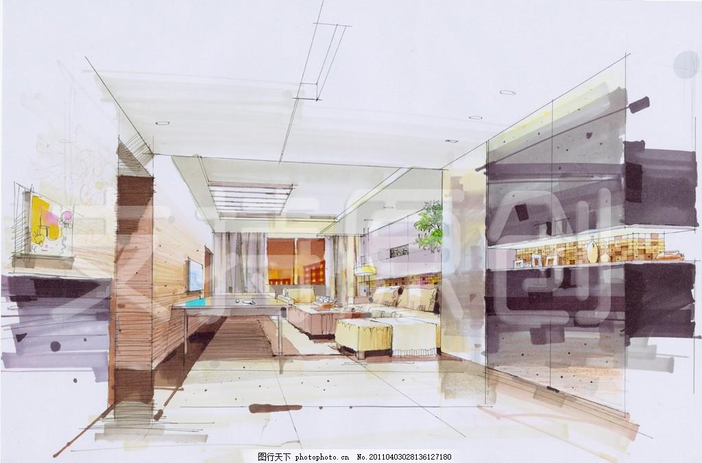 手绘 室内装修 装修效果图 天花板 地板 客厅 沙发 电视 窗帘