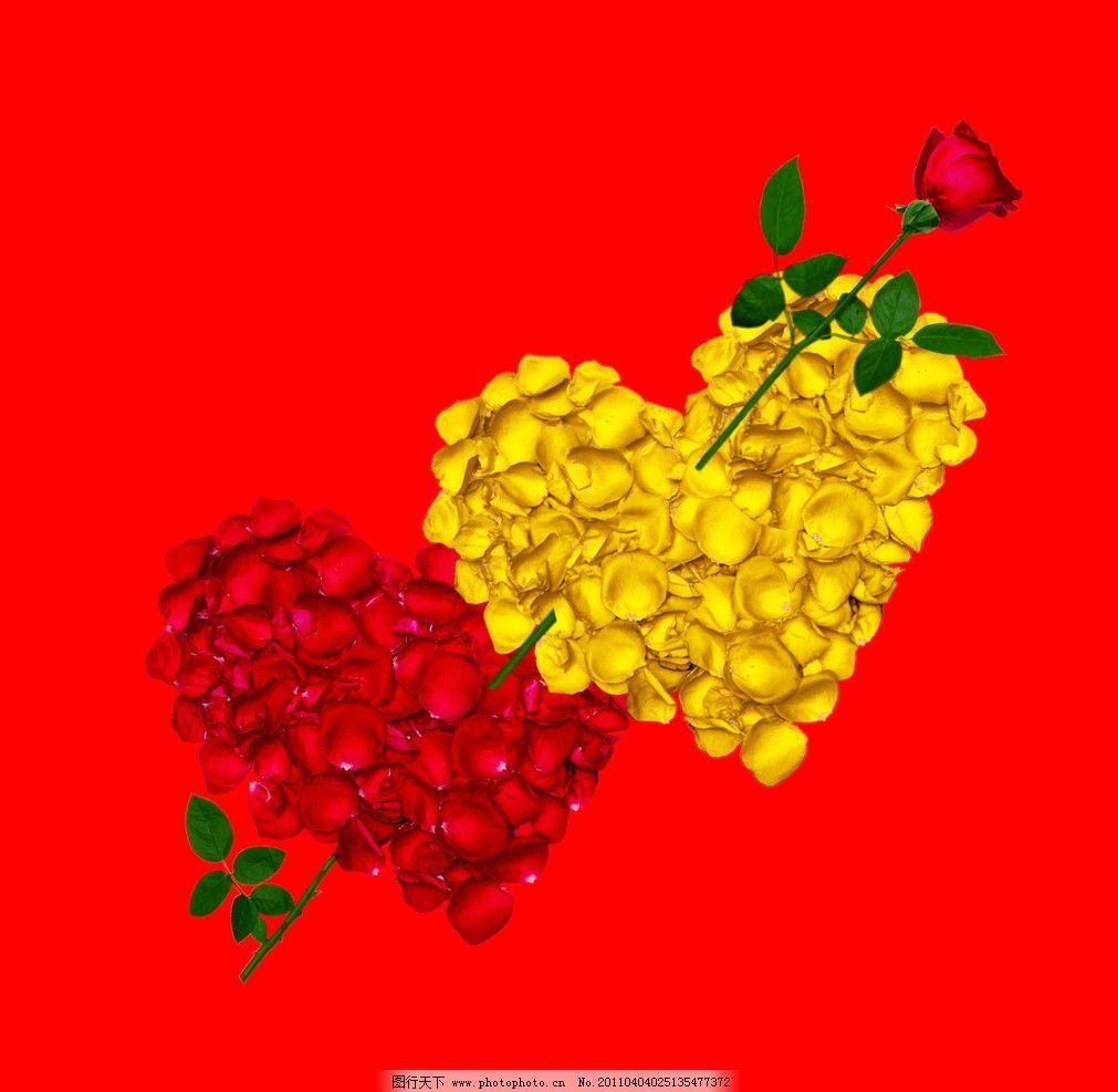 爱的力量 玫瑰 红玫瑰 花瓣 黄玫瑰 心 花草 生物世界 设计 260dpi ti