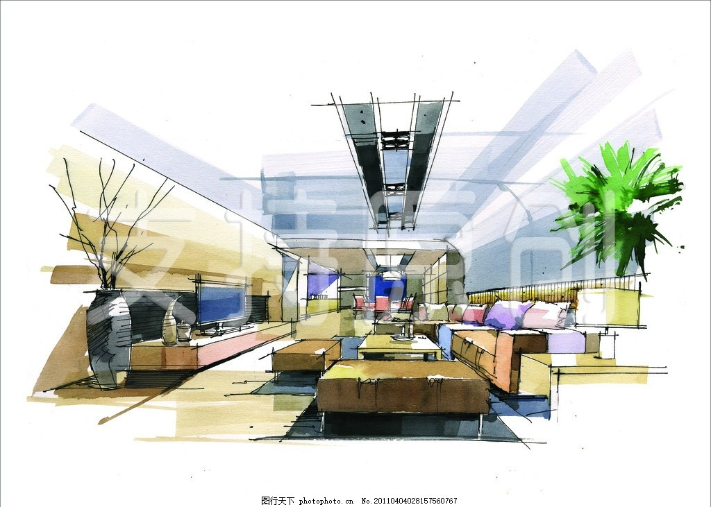 设计图库 环境设计 景观设计  手绘 室内装修 景观效果图 会客厅 会客