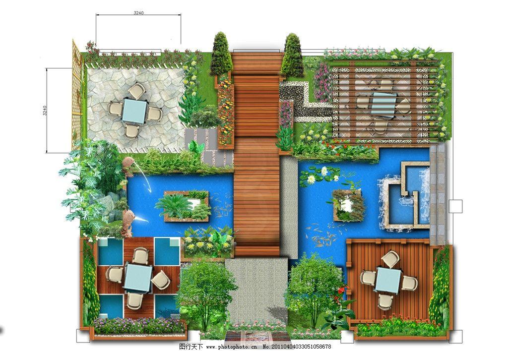 别墅花园 庭院 私家花园 小庭院 花园 小道 植物 房屋 景观设计 psd