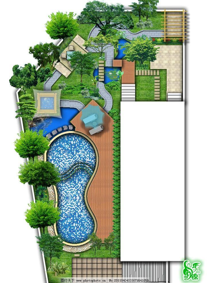别墅景观 别墅花园 庭院 私家花园 景观平面设计 屋顶花园 源文件