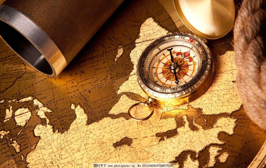 怀旧探险航海用品 怀旧 古典 探险 航海图 指南针 绳子 绳索 怀旧生活