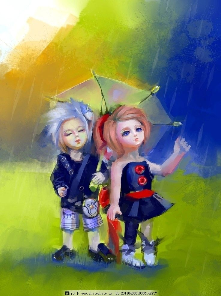 过云雨 雨 娃娃 情侣 雨天 浪漫 公园 草坪 绿色 动漫人物 动漫动画
