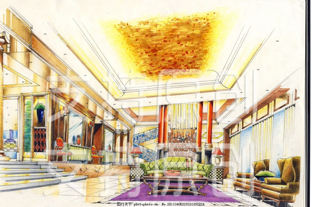 手绘 景观效果图 景观设计 欧式建筑 欧式 沙发 地毯 灯光 天花板