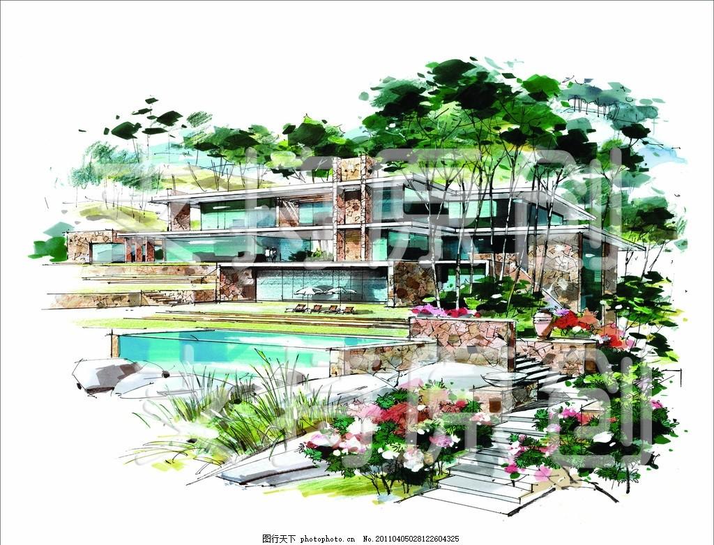 手绘 景观效果图 景观设计 花 花朵 游泳池 别墅 别墅设计 整体效果图