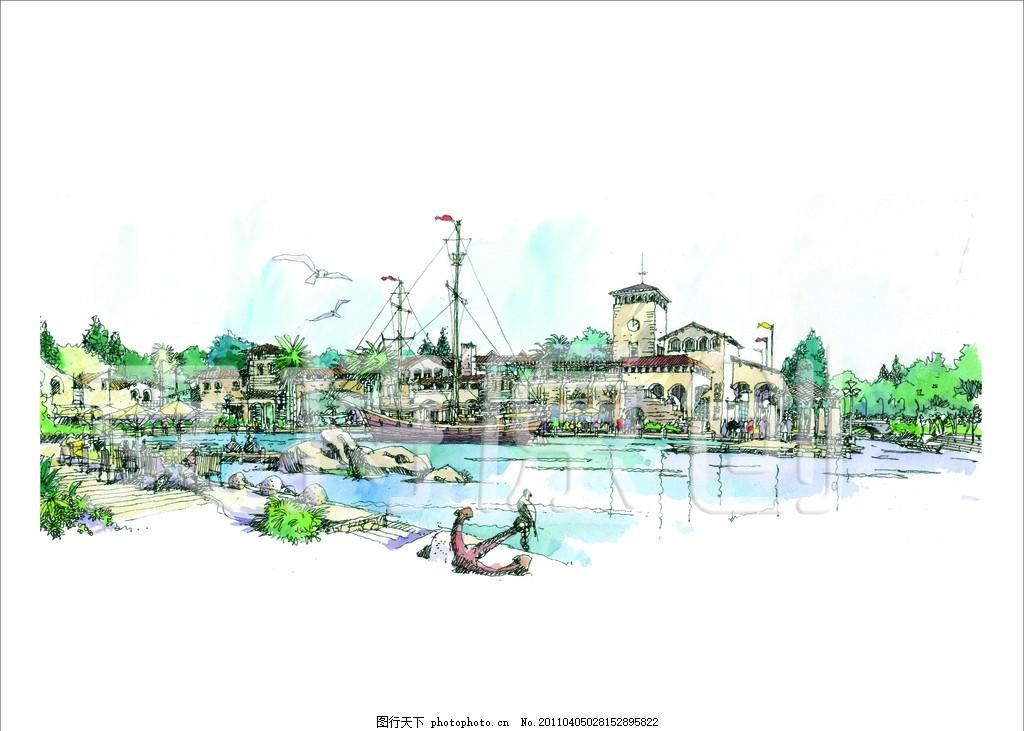 手绘 景观效果图 景观设计 绿叶 树 流水 和平鸽 石头 抛描