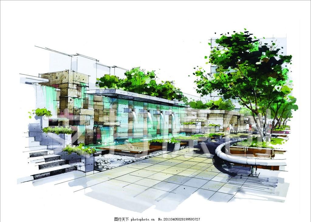 手绘 景观效果图 景观设计 别墅 别墅设计 盆栽 树 绿叶 台阶