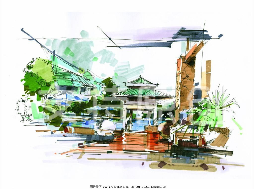 景观水池马克笔手绘