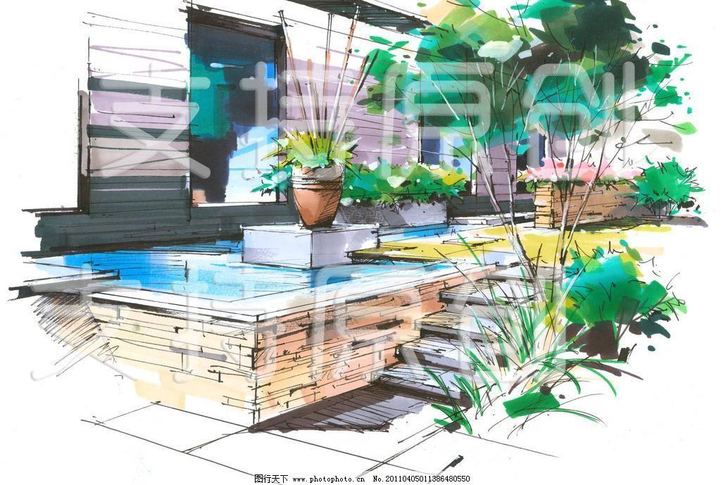 室内游泳池手绘效果图大图