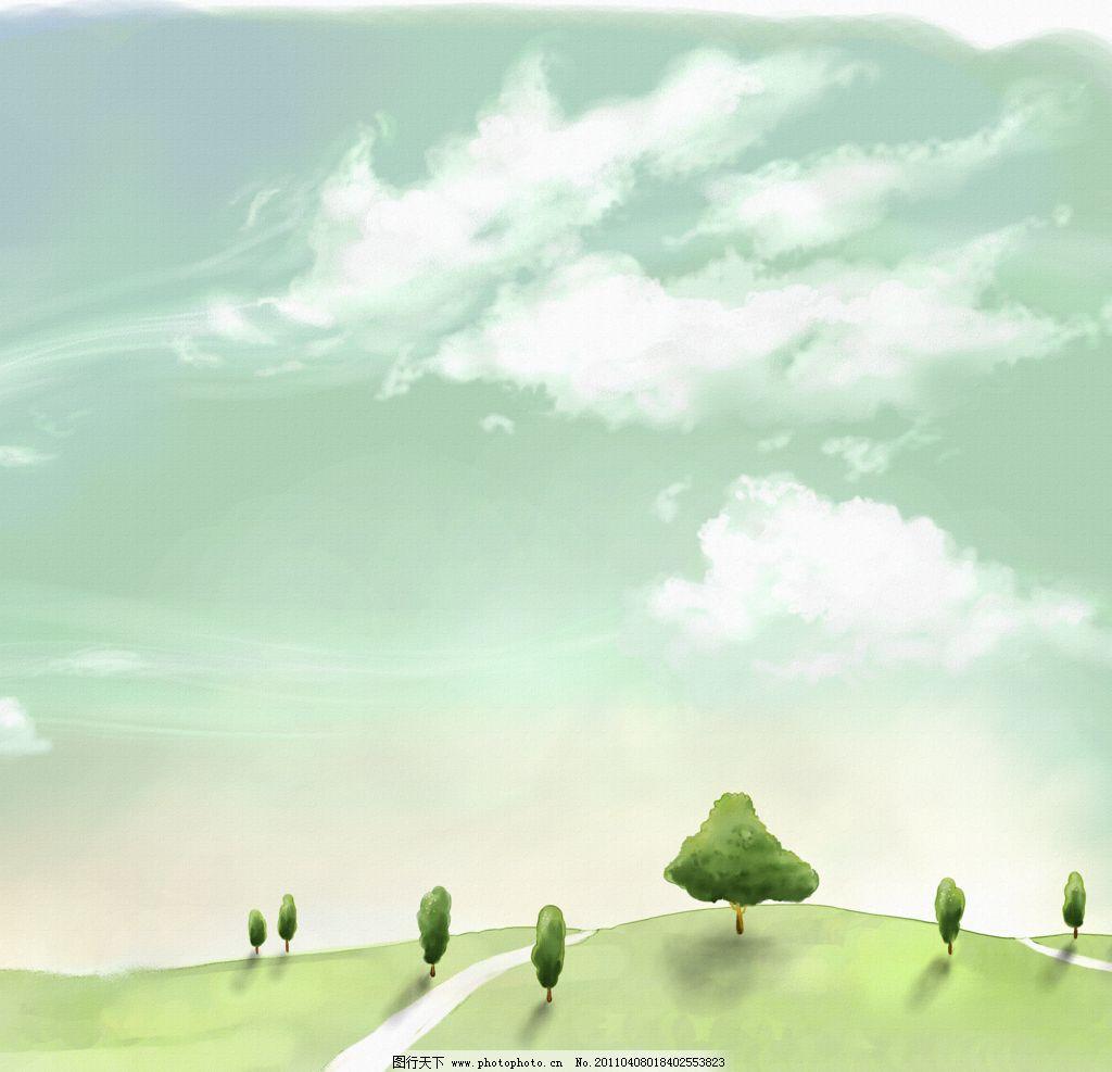 卡通 小路 漫画 梦幻背景 蓝天 白云 云彩 布纹 草地 绿地 青草 小树