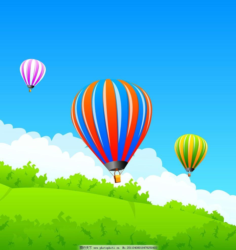 热气球 移门 卡通风景