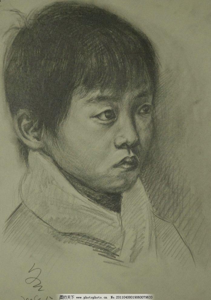 人物 人头像 范画 范画作品 素描作品 高考素描 男孩 孩子 小孩 绘画