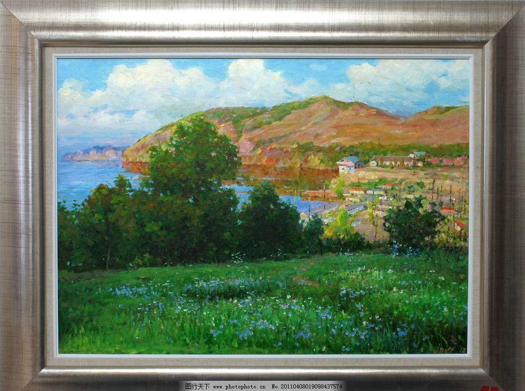 艺术家作品 景色 景色油画 树 树木 天空 白云 乡村 乡村油画 房子