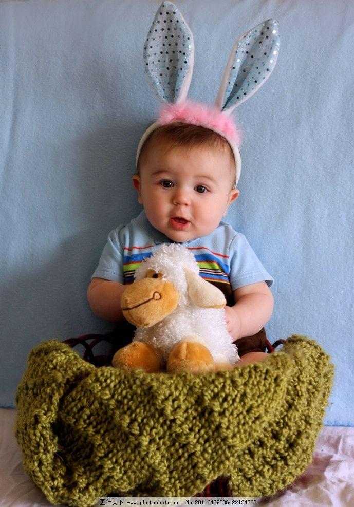 外国儿童 男宝宝 小男孩 幼儿 孩提宝宝 可爱 娃娃脸 胖乎乎 兔头帽