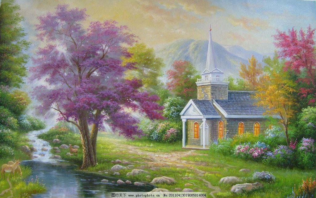 风景油画 风景 油画 油画风景 色彩 绘画 艺术 设计 彩色 朦胧油画 朦