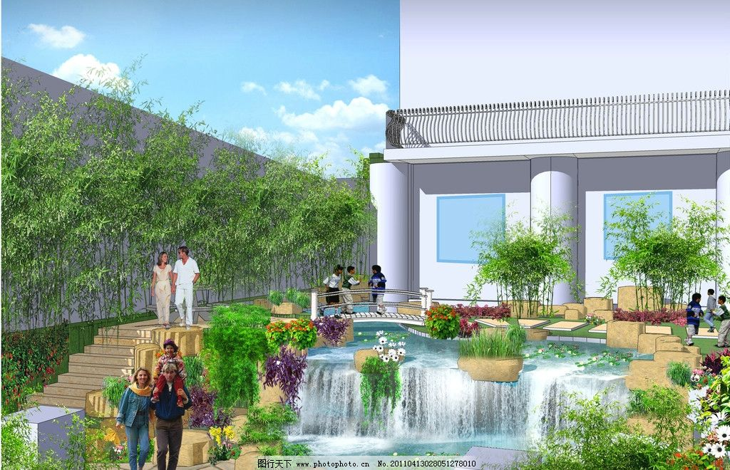 别墅景观设计 别墅 瀑布 喷泉 人物 景观局部图 景观设计 植物 草丛