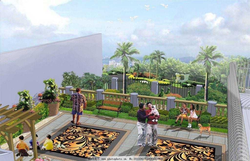 别墅屋顶花园景观设计图片