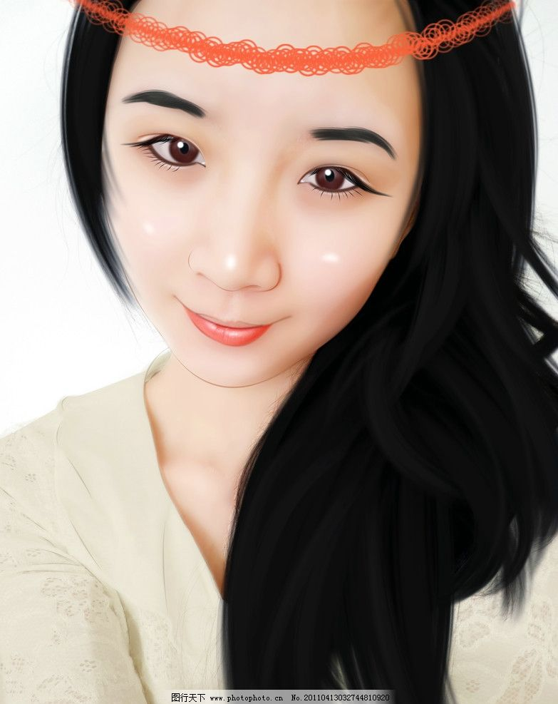 手绘现代美女 五官 头发 衣服 头饰 手绘人物 源文件