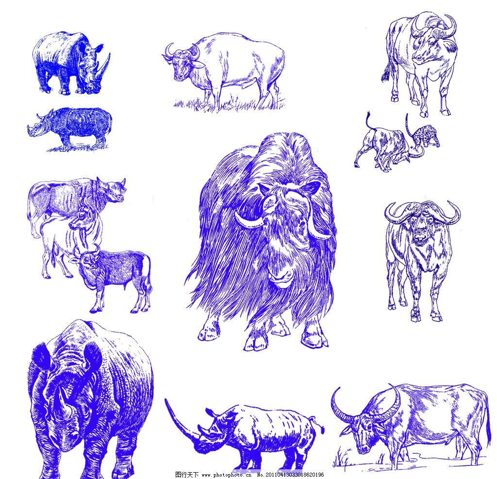 青花瓷 《牛》 犀牛 牦牛 黄牛 水牛 分层素材 psd分层素材 源文件