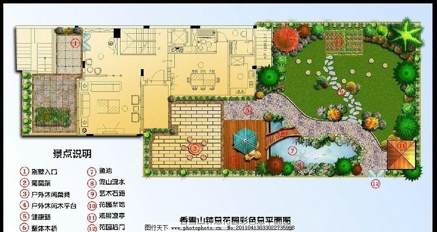 别墅花园彩色平面图 别墅 花园 彩色平面图 景观 设计 ps 鱼池 葡萄架