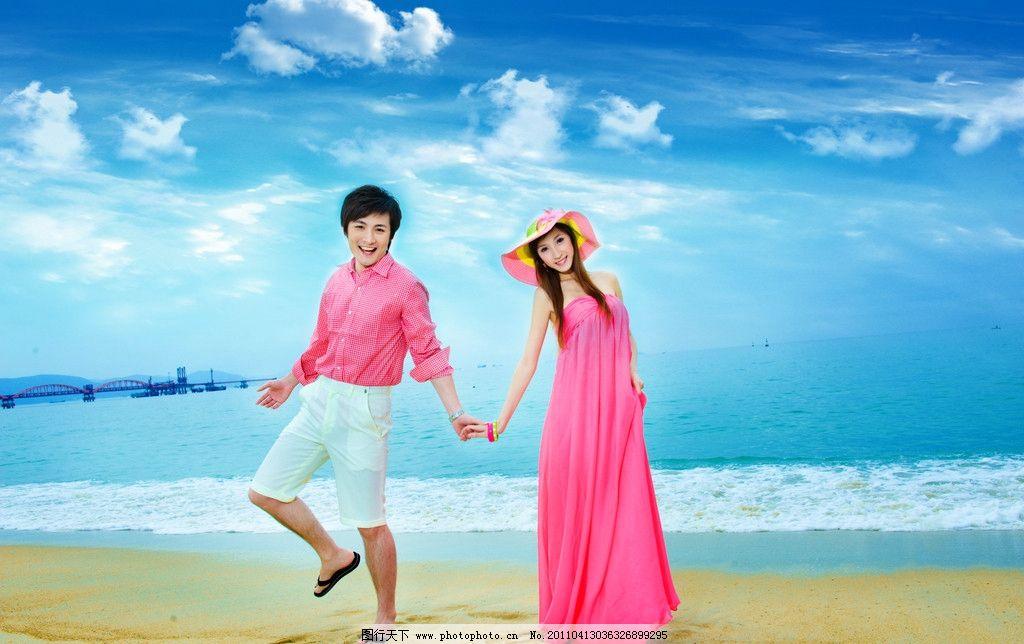 婚纱照 海景 蓝天白云 海边 海滩 婚纱样片 人物摄影
