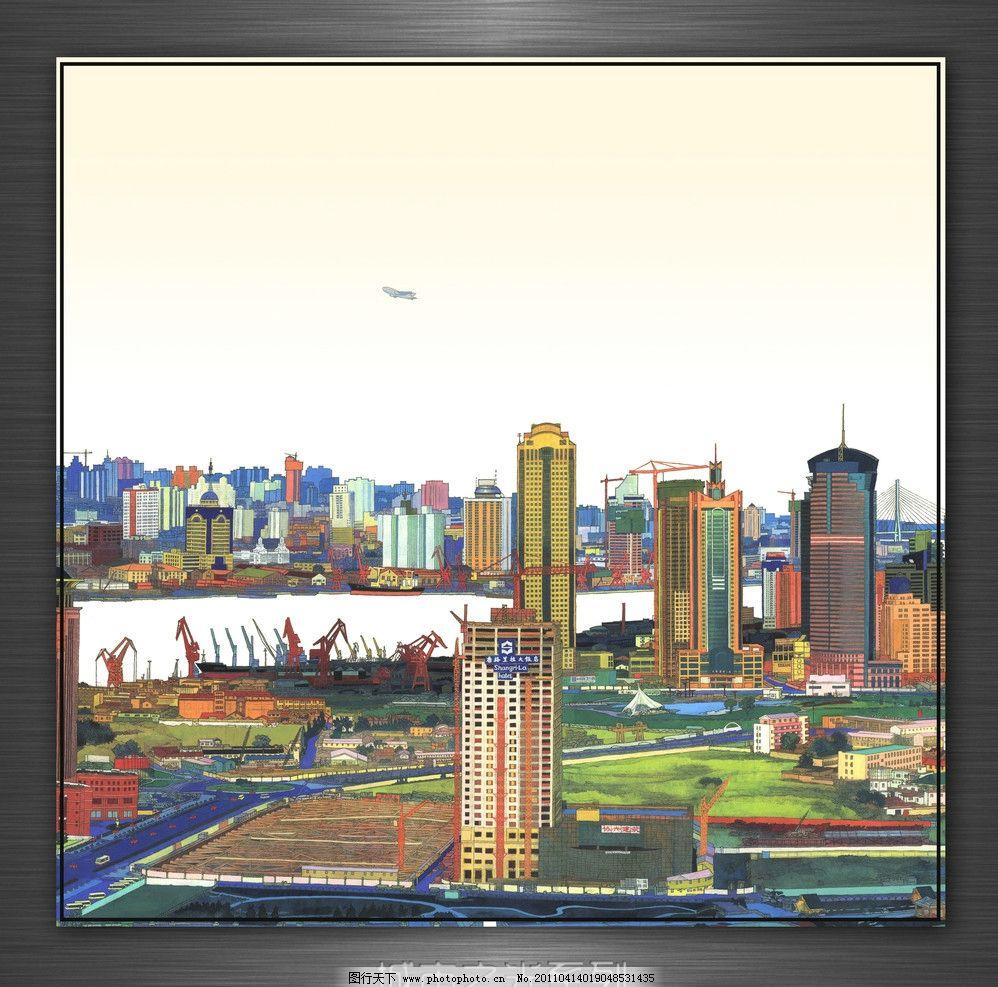 城市之光 城市 手绘 风景 插画 装饰画 高楼 大厦 海港 码头 飞机