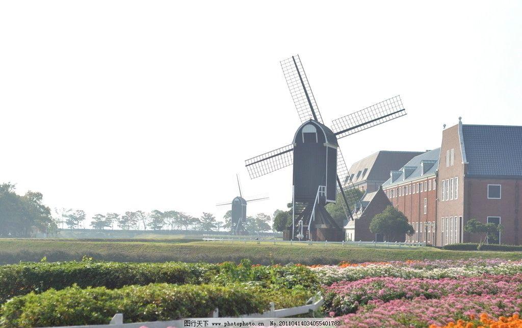 田园风车 花海 欧式建筑 浪漫 童话 阳光 国外旅游 旅游摄影