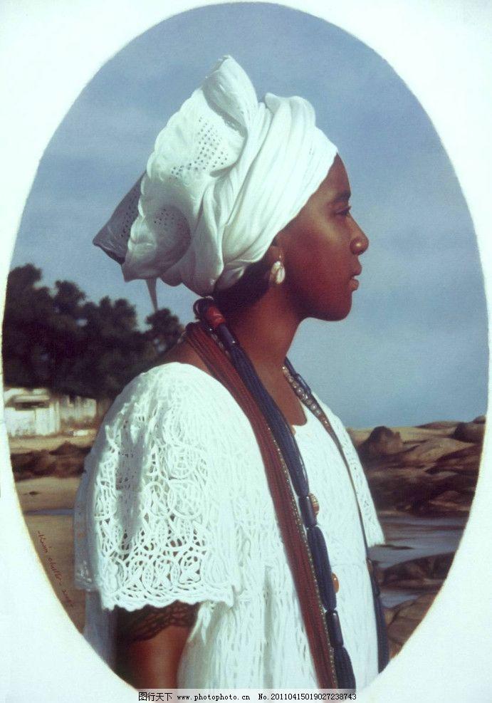 黑人少女油画图片
