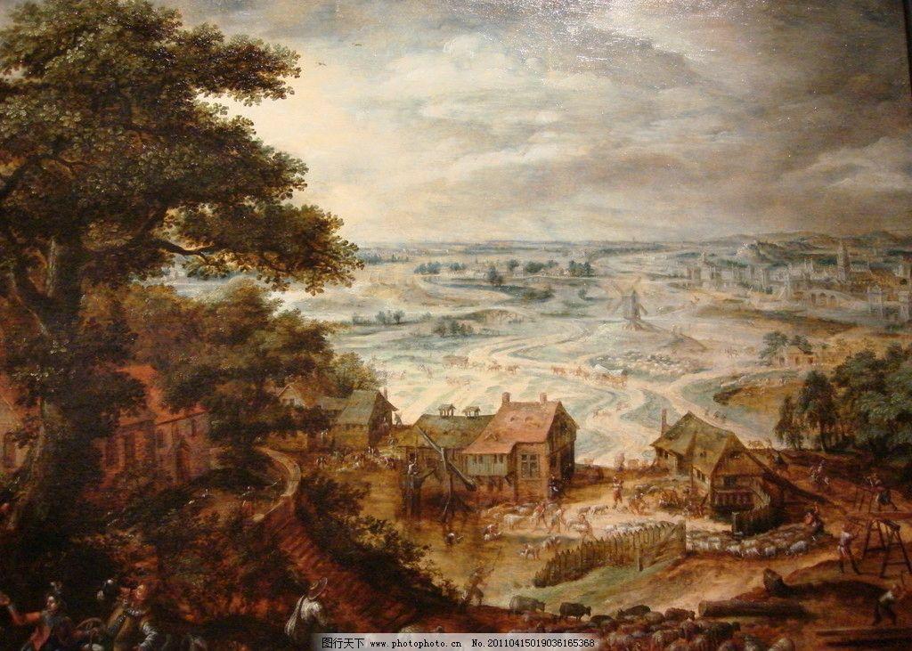 油画风景 村落 放羊 树 房子 远景 云 油画 绘画书法 文化艺术 设计