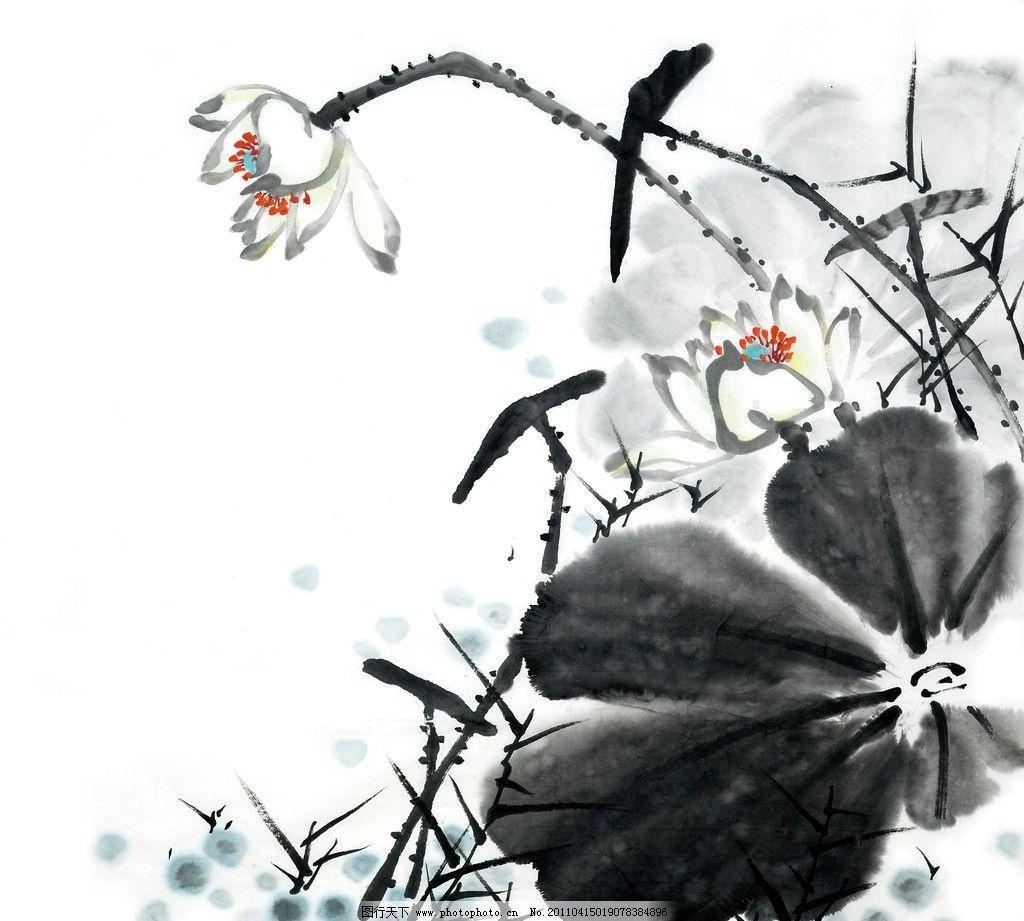 水墨荷花 国画 荷叶 浮萍 水墨大图 绘画书法 文化艺术