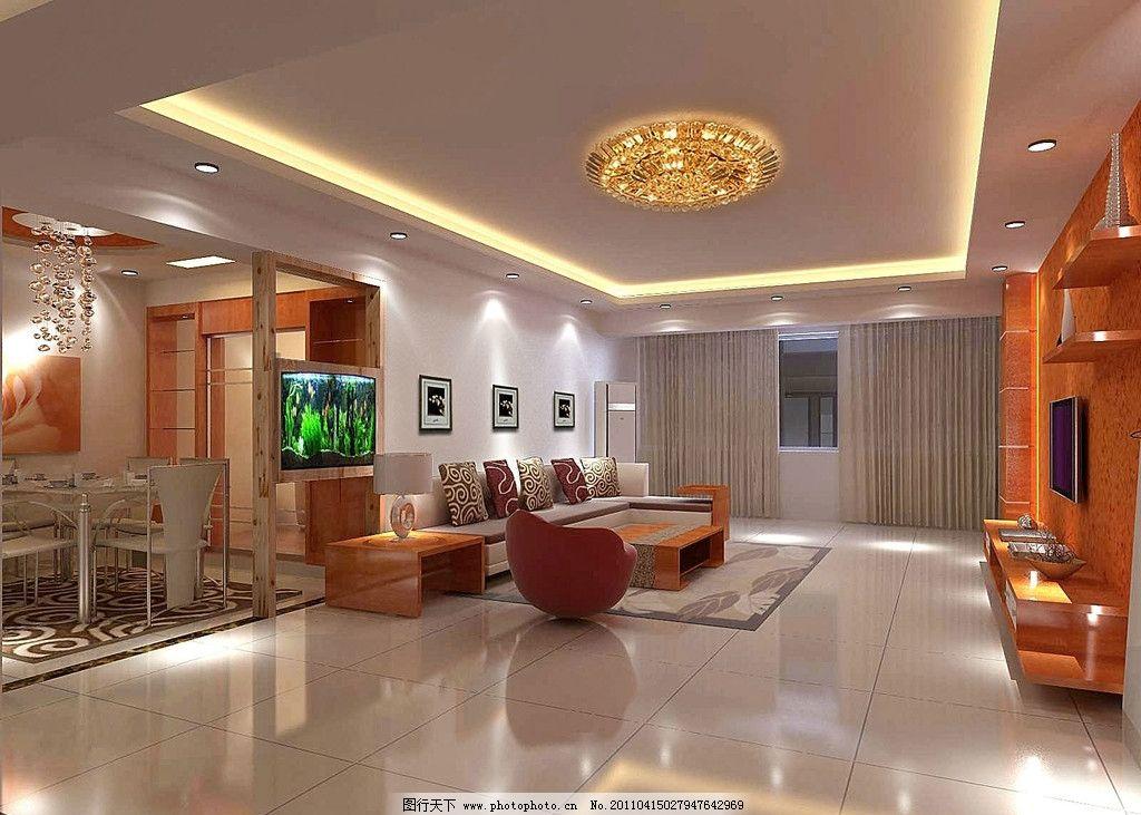 客厅效果 沙发组合 电视机 电视背景墙 音箱组合 水晶灯 餐桌组合