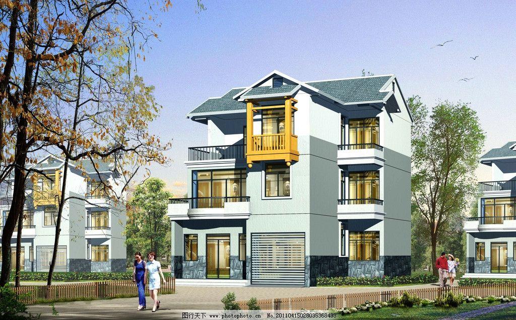 别墅外观 美术 建筑艺术 外观设计 别墅设计 中式别墅 草地 路