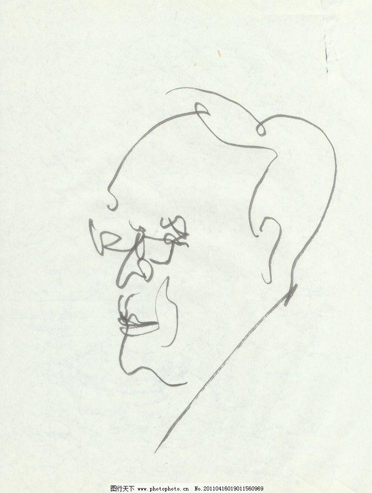 肖像速写 钢笔盲画 绘画书法 文化艺术 设计 150dpi jpg