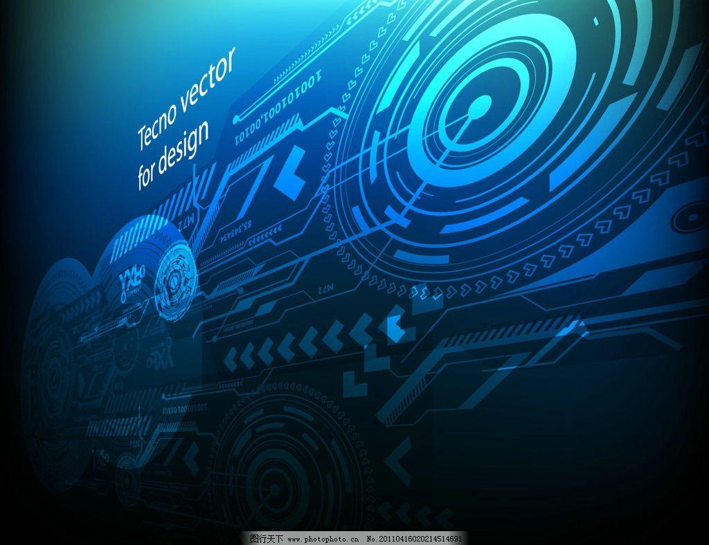 蓝色商务科技背景 线条 条纹 卡片 数字 圆圈 圆环 动感 电路 动感