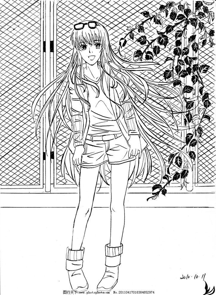 人物线稿 黑白插画 漫画 线稿 手绘 少女 长发 铁丝网 藤条植物 原创