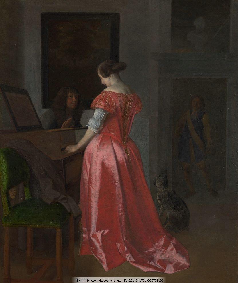 欧式宫廷钢琴油画