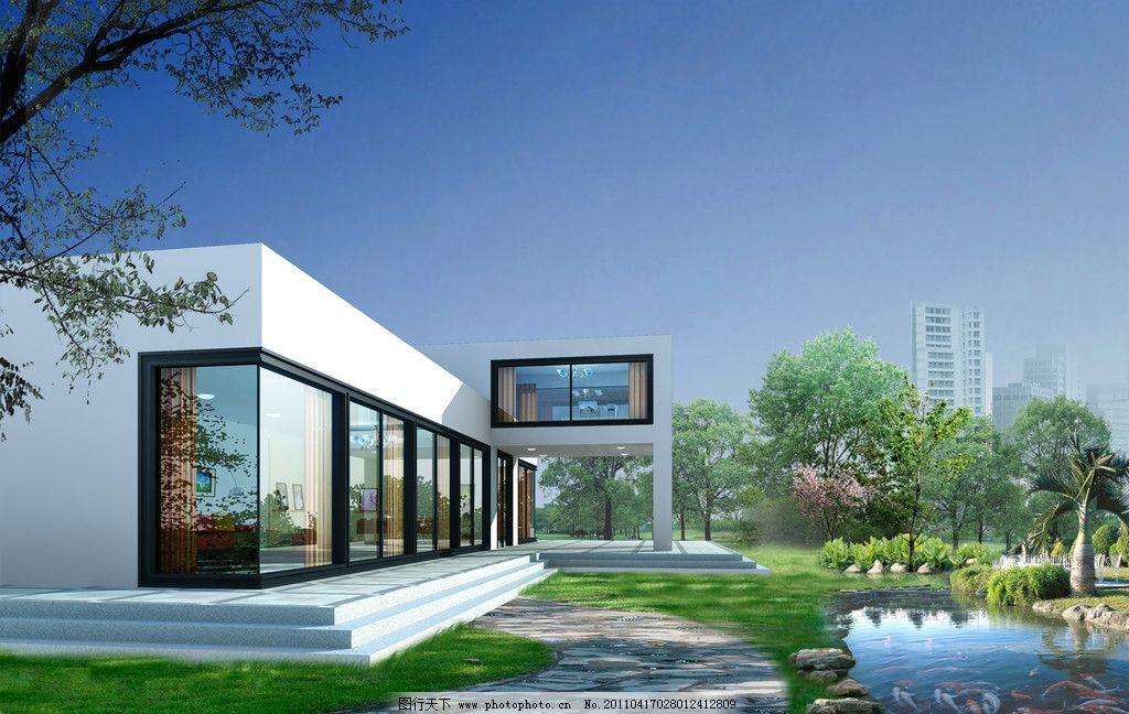 别墅效果图 别墅室外效果图 建筑设计 环境设计 设计 200dpi jpg