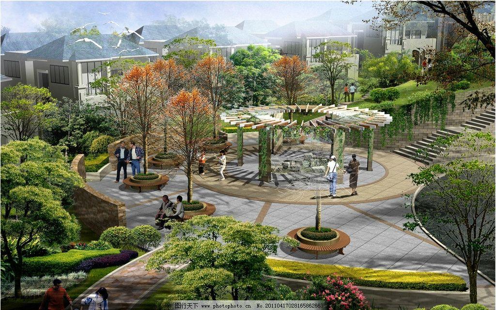 景观设计 园林 园林设计 景观局部图 小广场 小广场设计 休息庭 环境